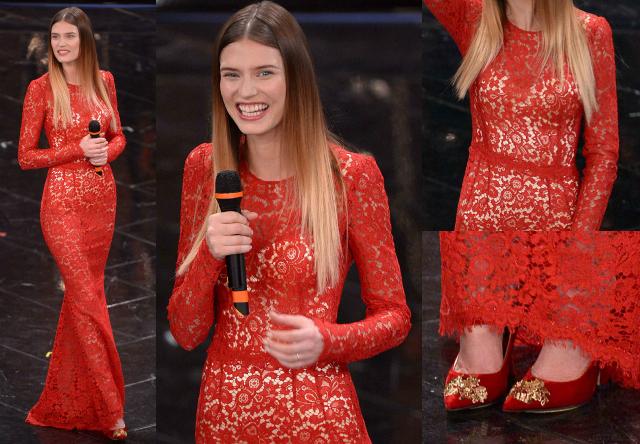 Bianca Balti in pizzo rosso, Dolce & Gabbana