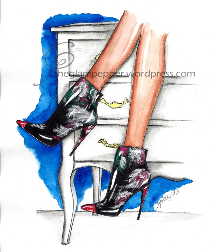 Fashion sketch, Roberto Cavalli  boots