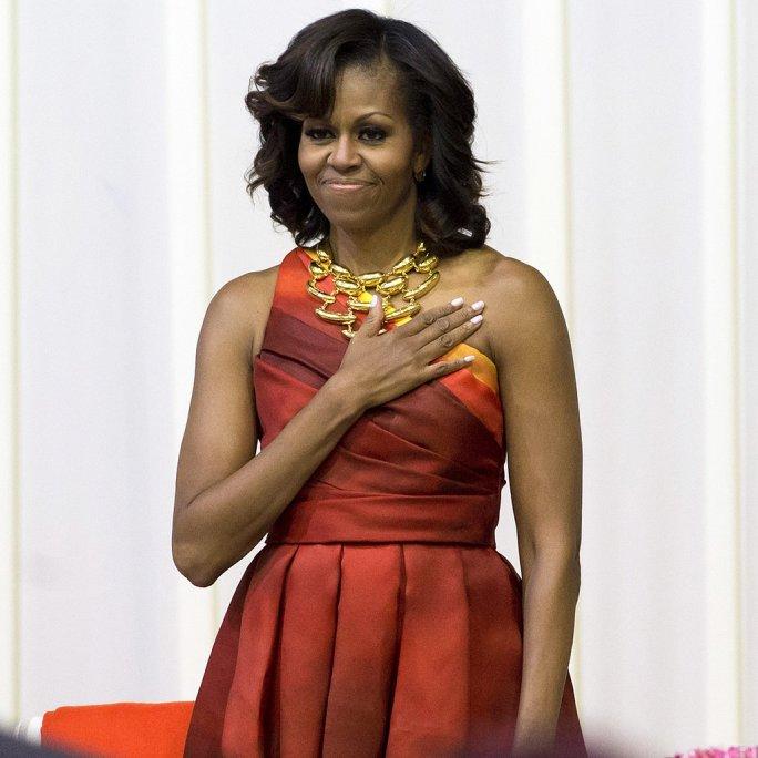 Estate 2013, Michelle Obama, khan-spring-2013, abito Naem Khan, necklace Robert Lee Morris
