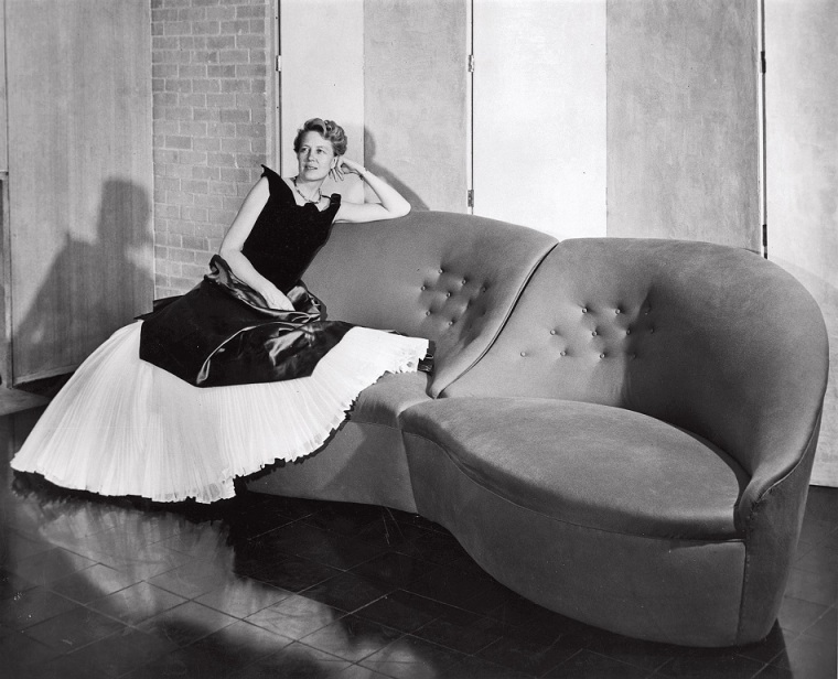 Dominique de Menil at home in Charles James and on Charles James couch circa 1951 credit F.W. Seiders