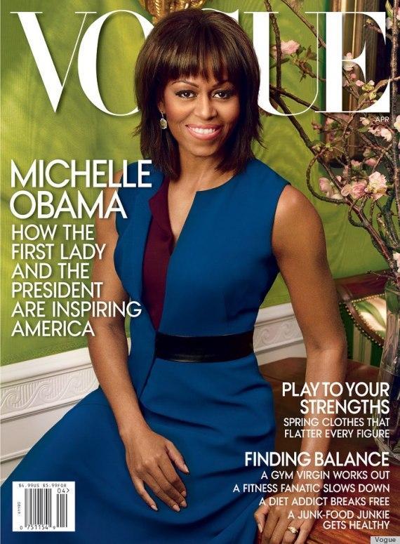 Michelle Obama fotografata da Annie Leibovit per Vogue aprile 2013, in abito blu e viola di Reed Krakoff